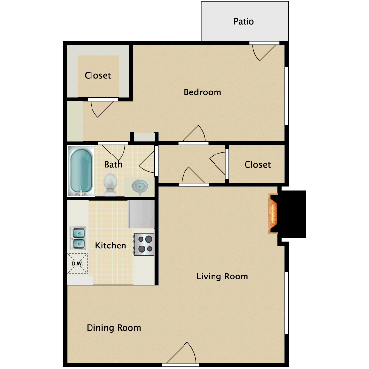 1 Bed 1 Bath Fireplace floor plan image