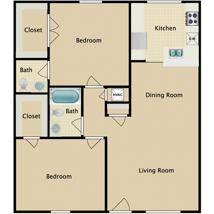 2 Bed 1.5 Bath floor plan image