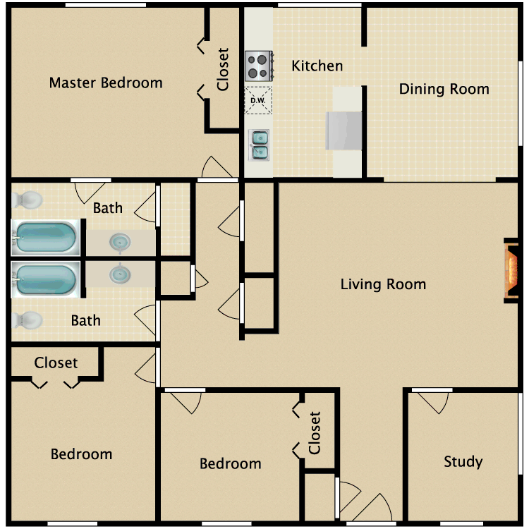 3 Bed 2 Bath Fireplace, Study floor plan image