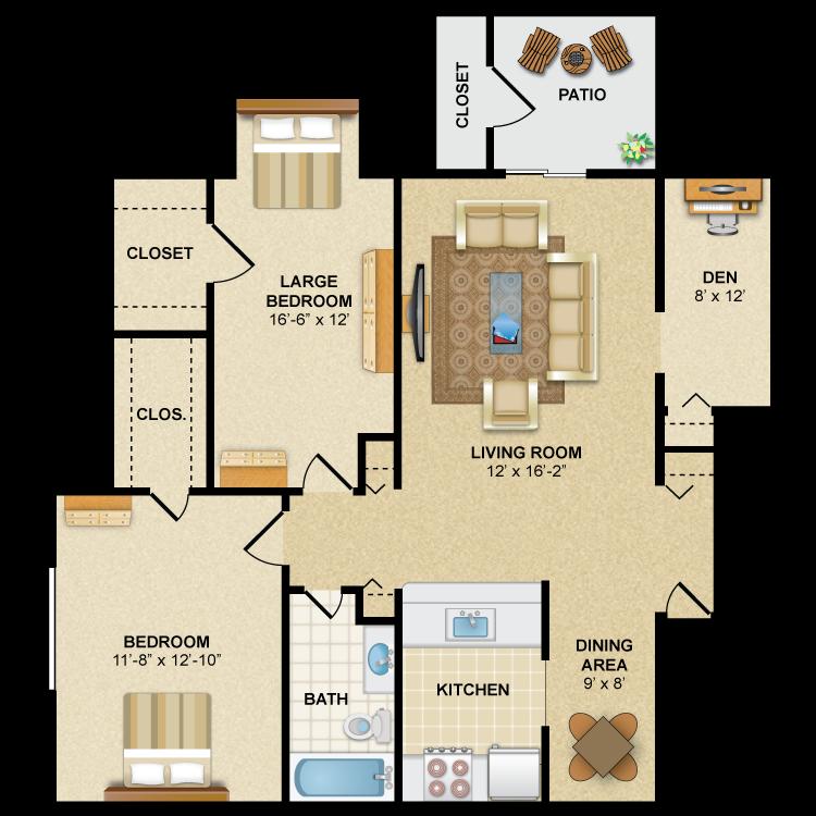Floor plan image of Ambassador: 2BR 1BA (with Den)