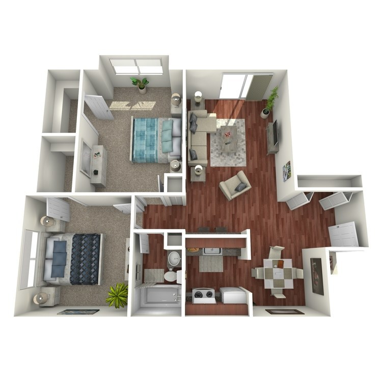 Floor plan image of Secretary: 2BR 1BA