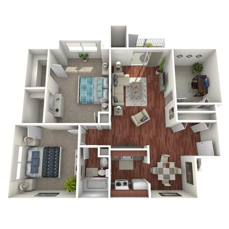 Floor plan image of Ambassador: 2BR 1BA (with Den)