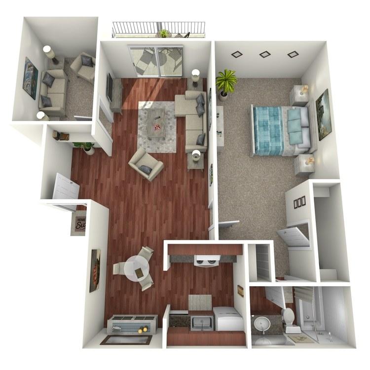 Floor plan image of Delegate: 1BR 1BA (w/ Den)