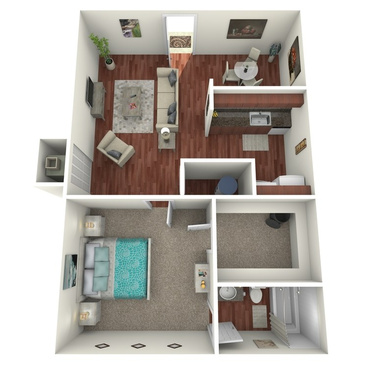 Floor plan image of Commander: 1BR 1BA