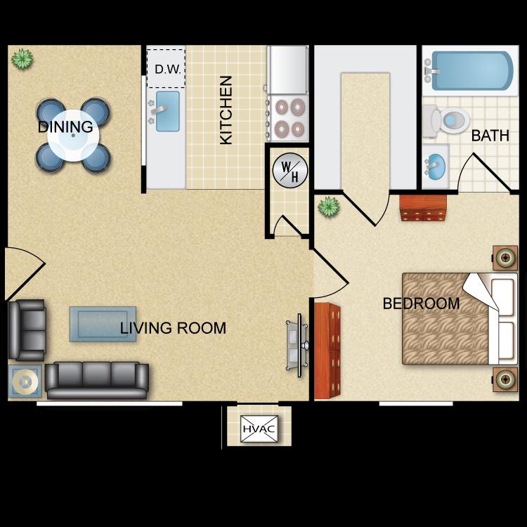 Floor plan image of Commander: 1BR 1BA