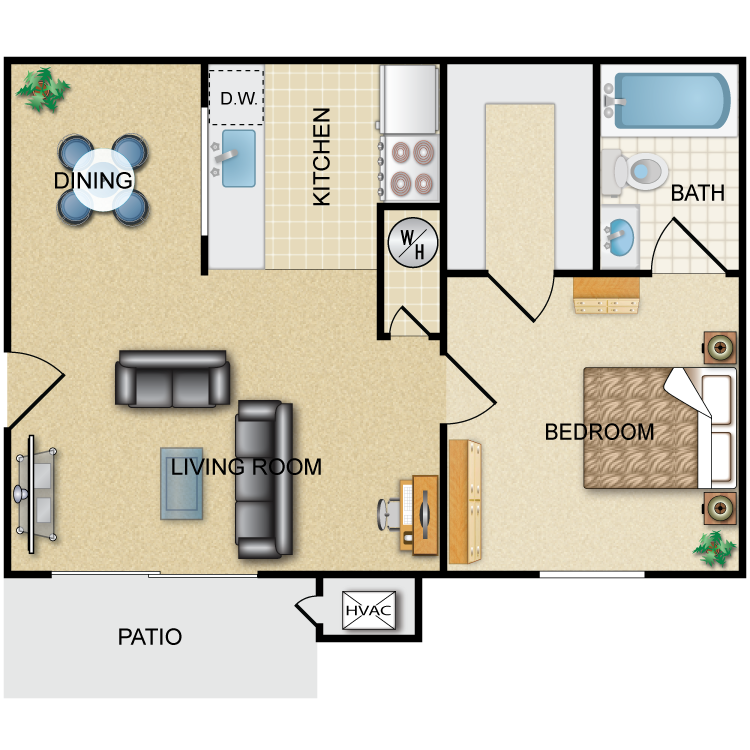 Floor plan image of Governor: 1BR 1BA