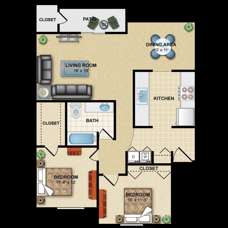 Floor plan image of Premier: 2BR 1BA