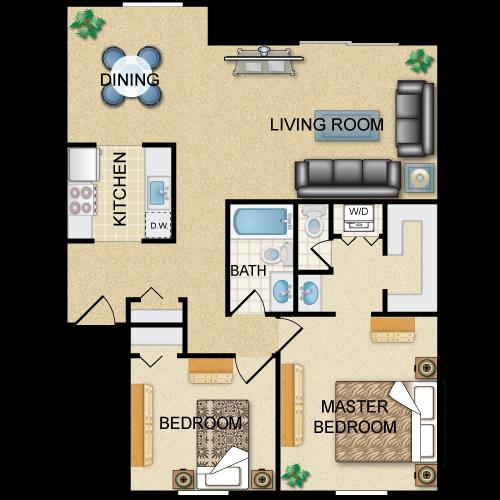 Floor plan image of Presidential: 2BR 1.5BA