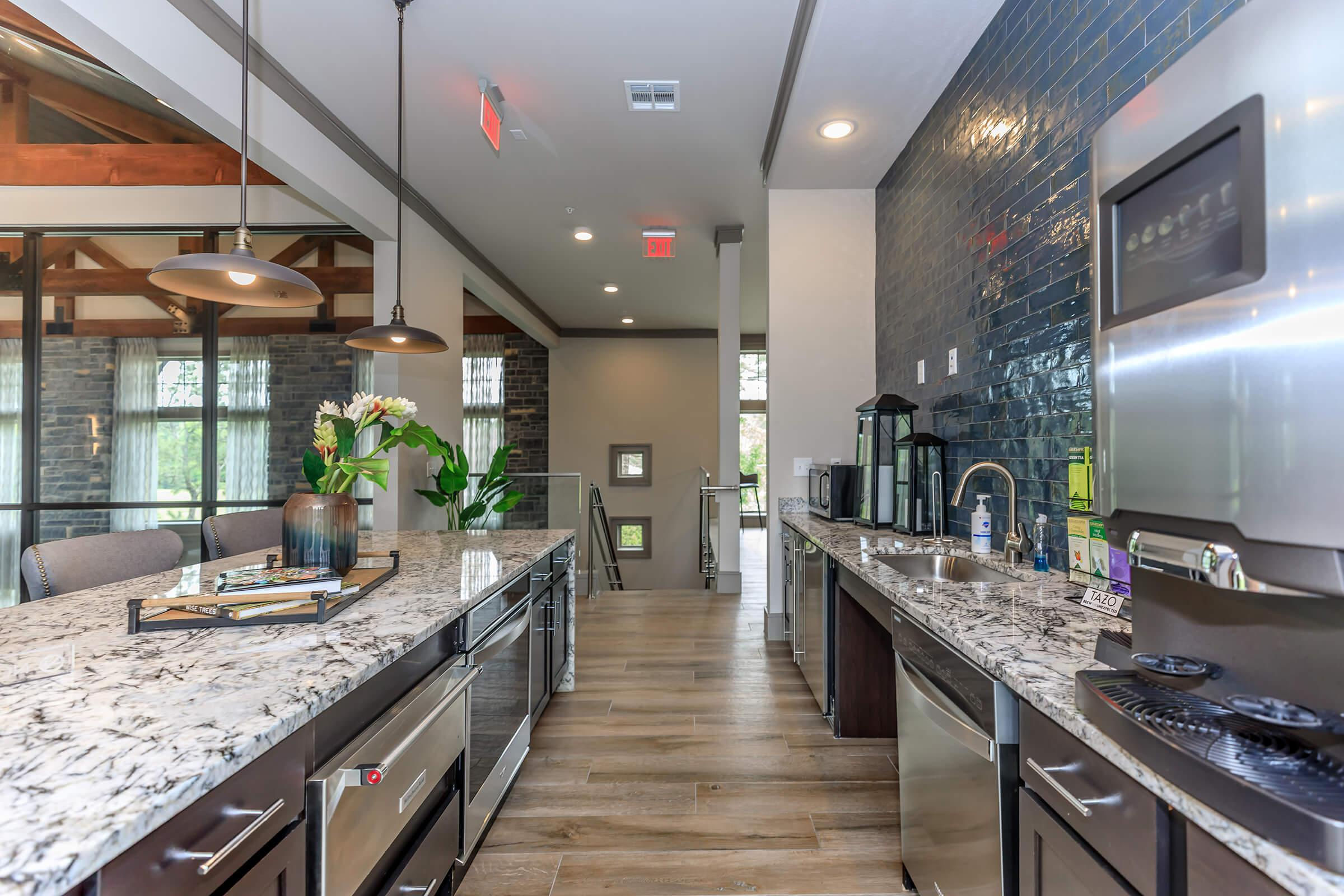 Luxury clubhouse kitchen with stainless steel appliances and
