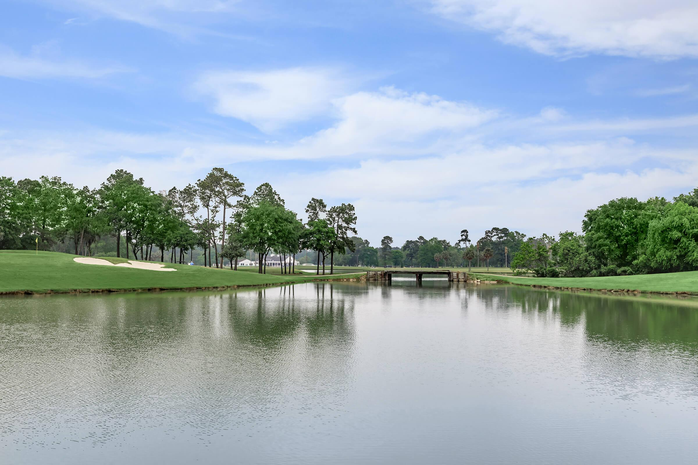 Gorgeous view of adjoining golf course lake.