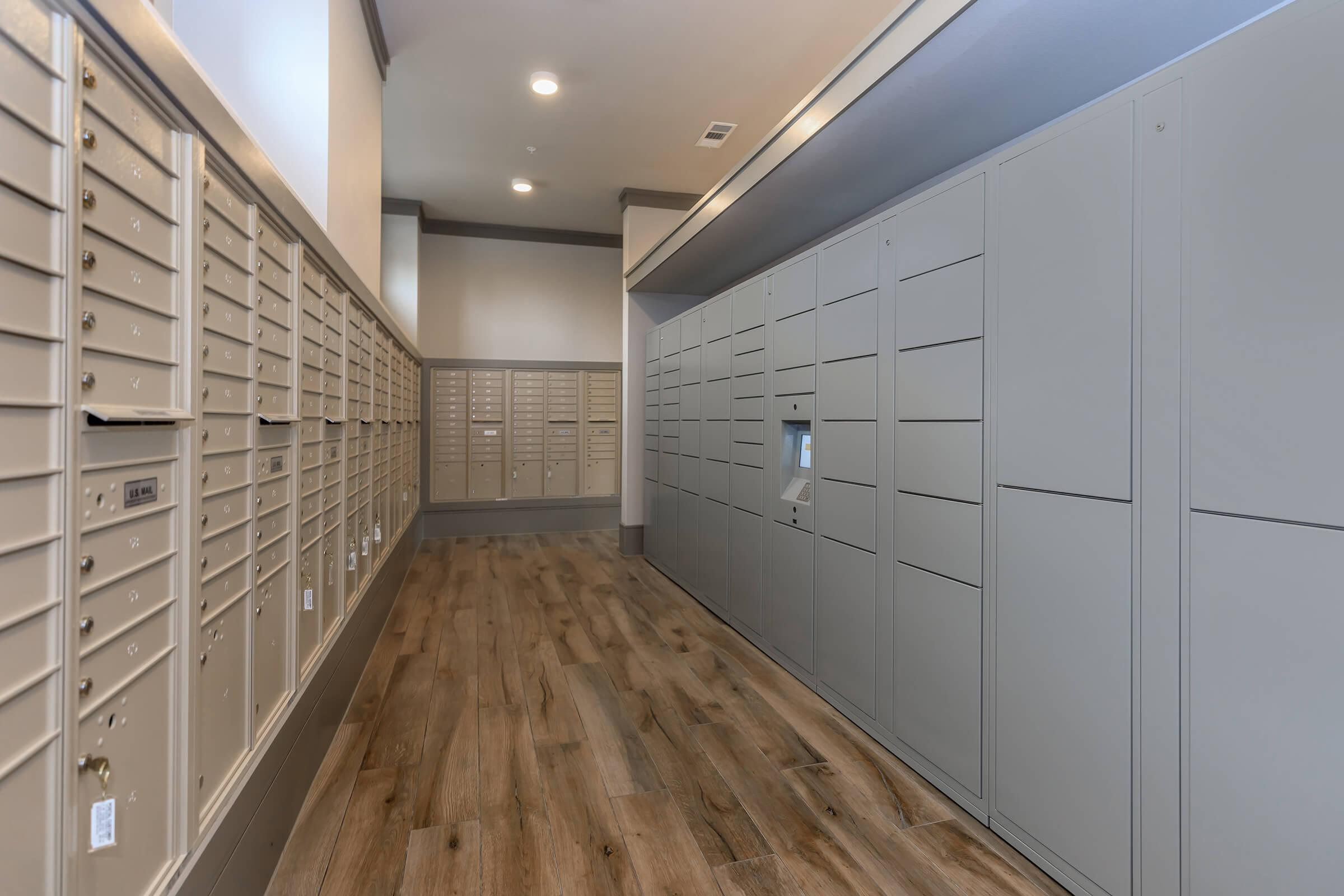 Mail room at Park at Tour 18 apartments with package lockers.