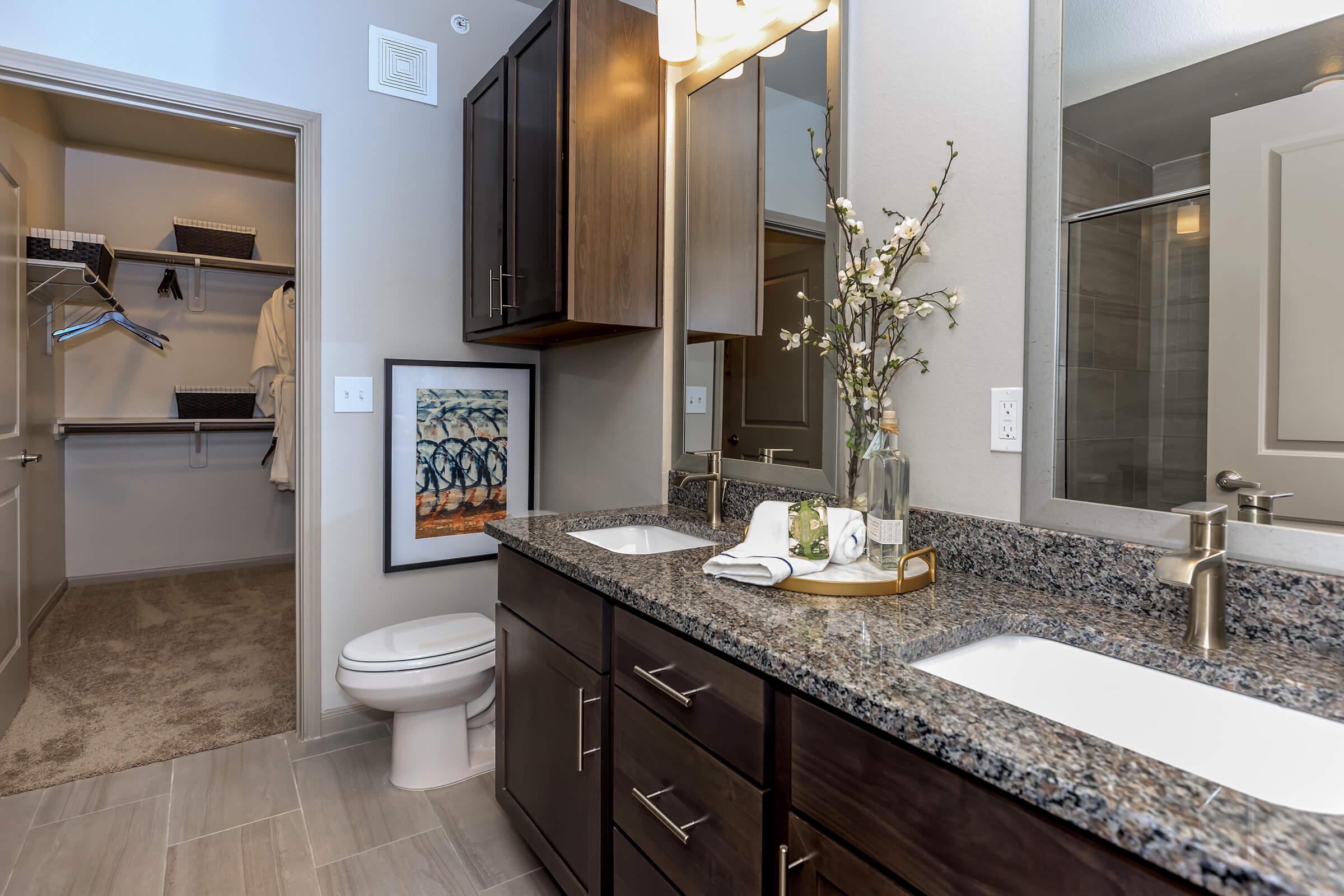 Modern bathroom with dual vanities