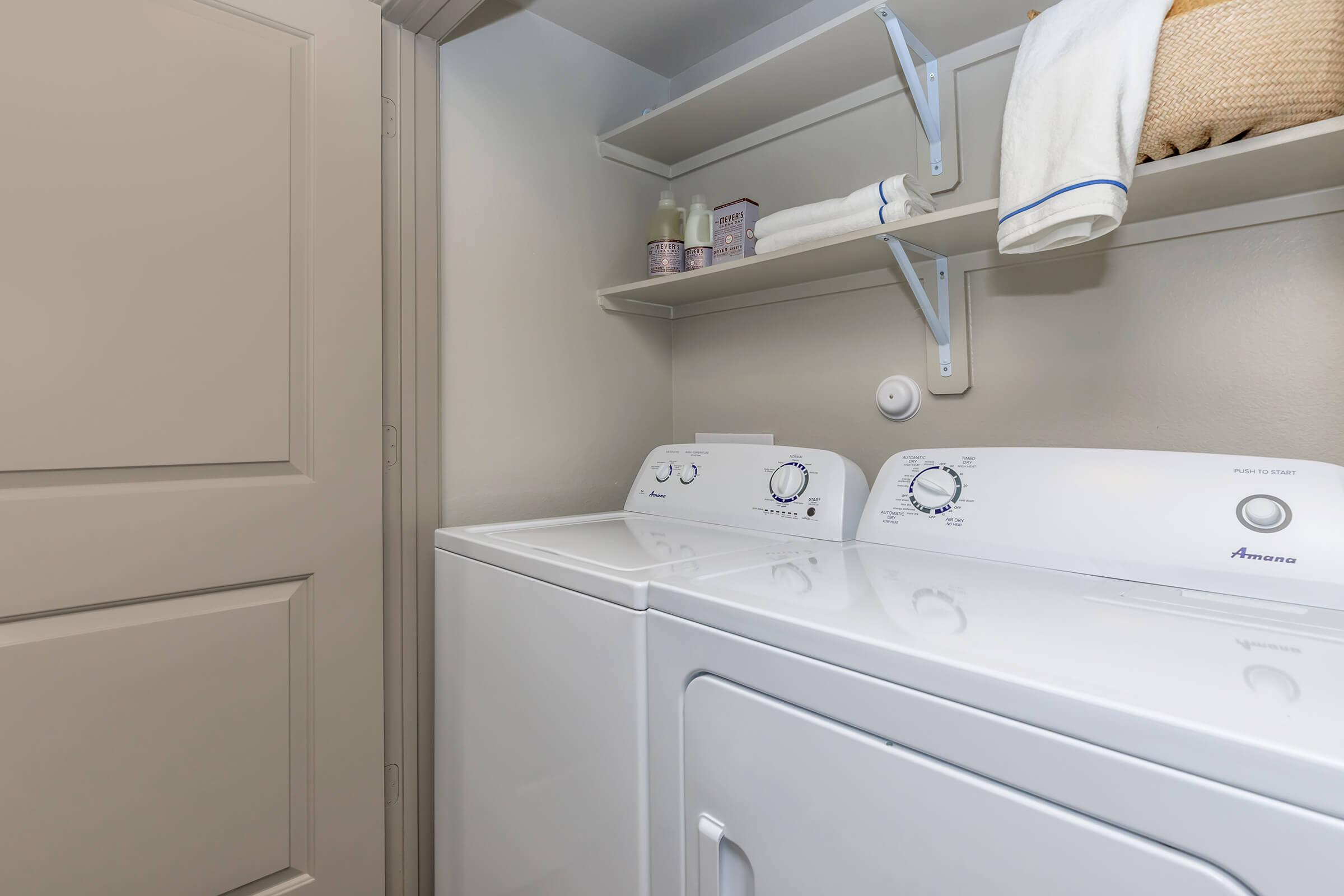 Full-size washer and dryer included with every brand new apartment home at Park at Tour 18.
