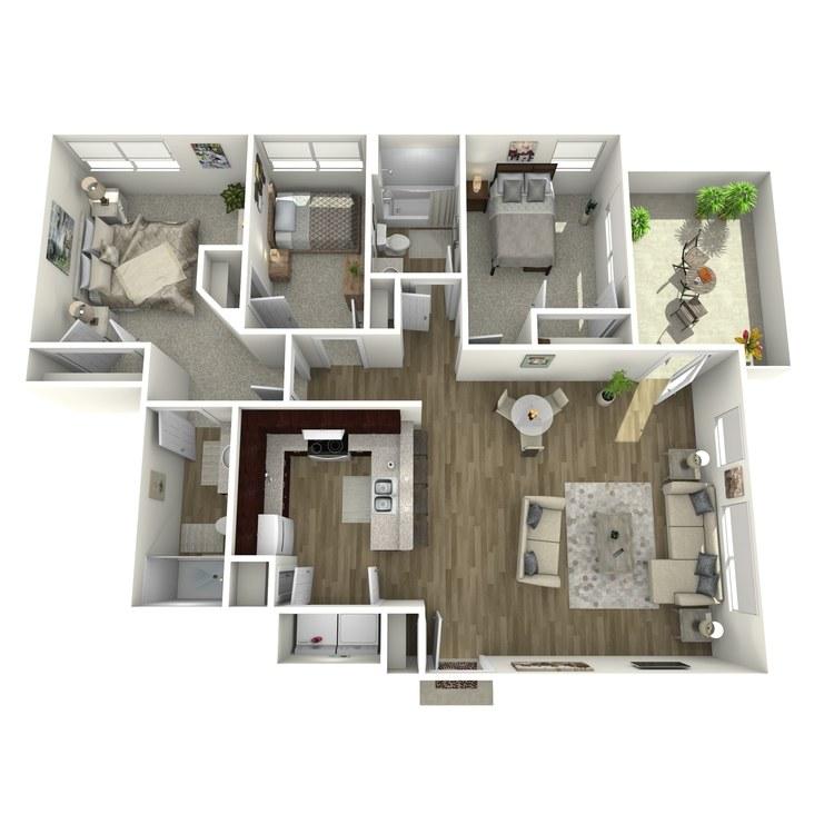 Floor plan image of 3 Bedroom 2 Baths