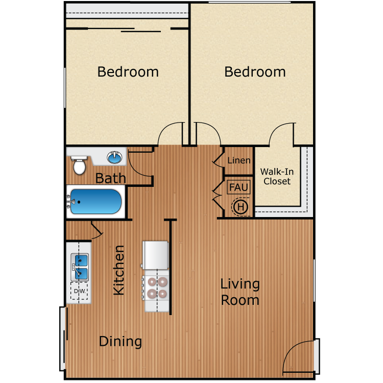 2 Bed 1 Bath B floor plan image