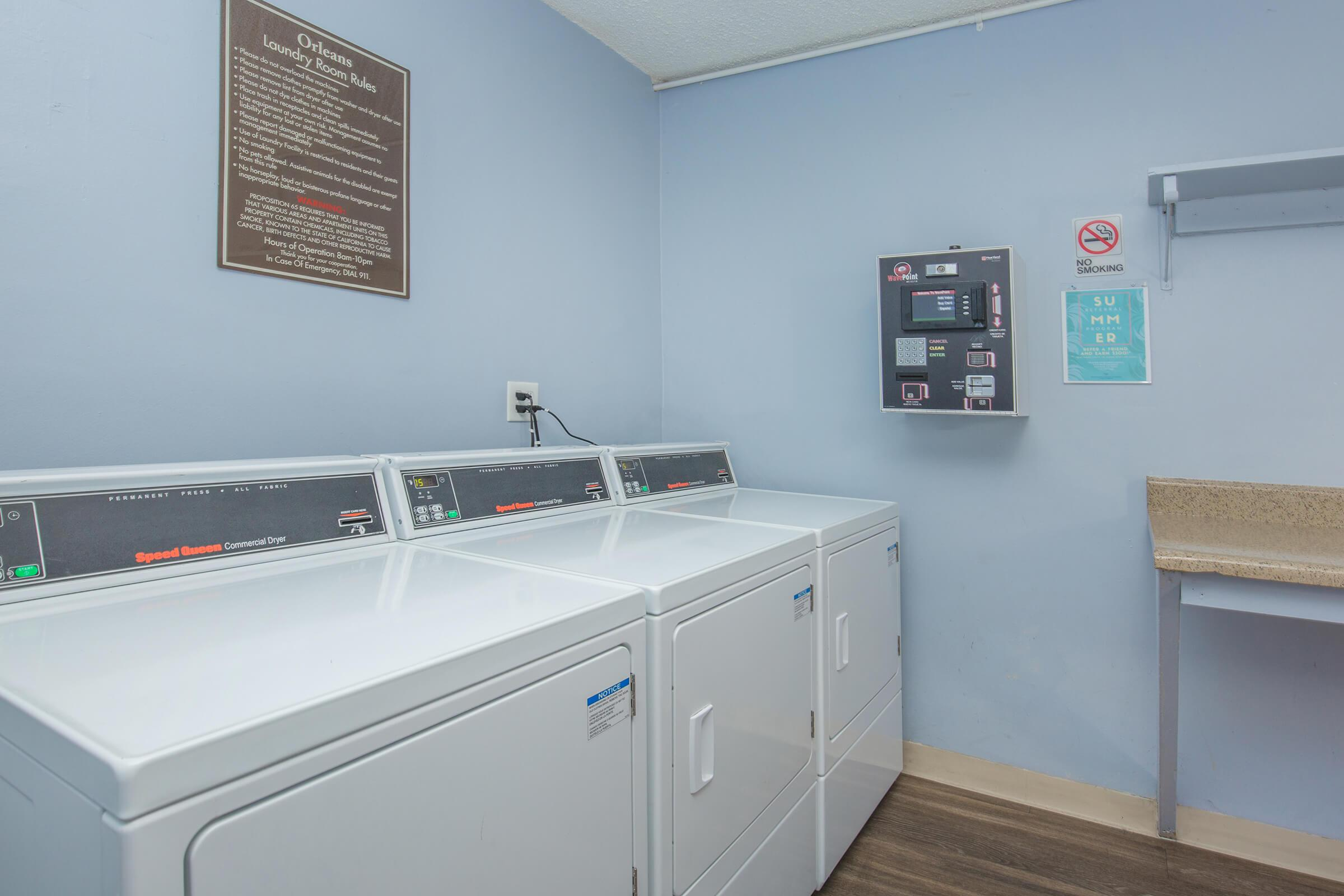 Dryers in the community laundry room