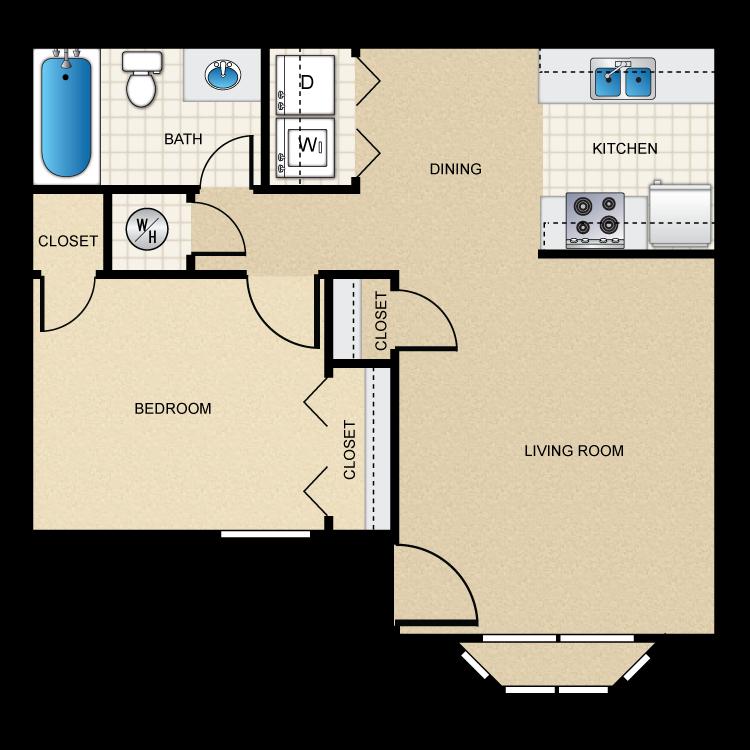 Floor plan image of (B) 1 Bed