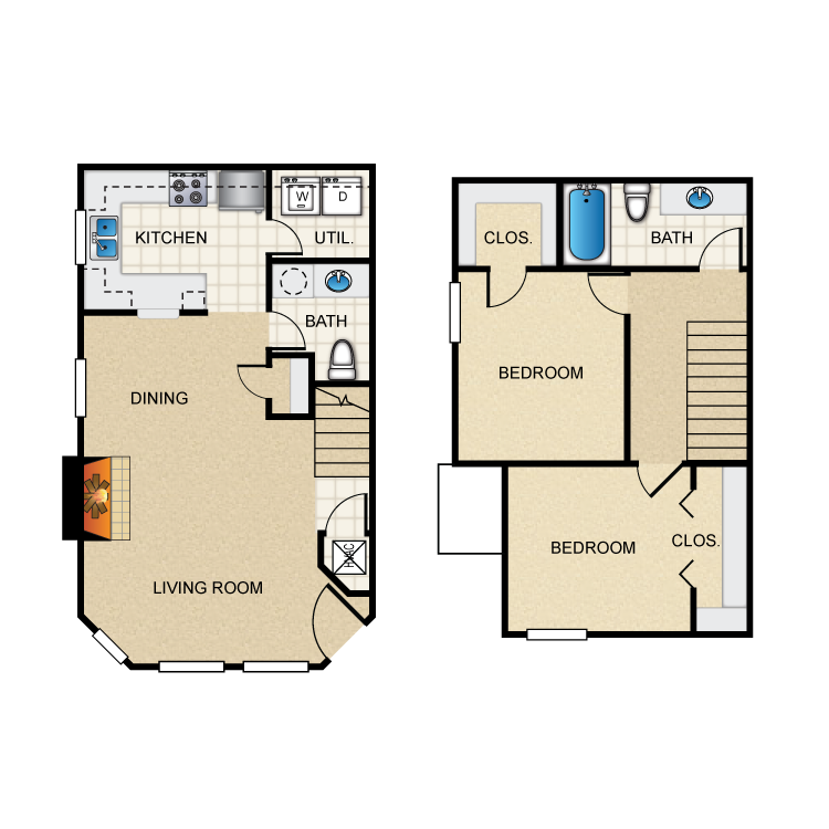Floor plan image of (E) 2 Bed Town House