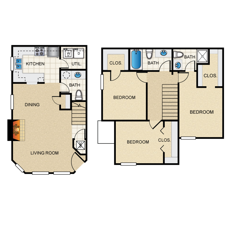 Floor plan image of (F) 3 Bed Town House