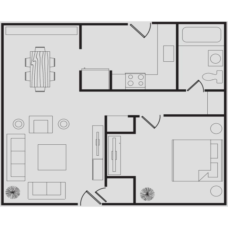 Floor plan image of The Bungalows One Bedroom