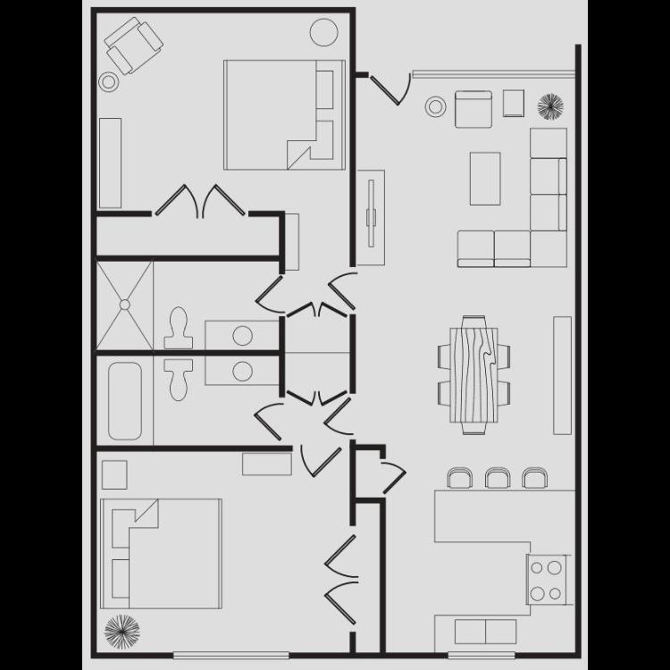 Floor plan image of The Modern Two Bedroom B