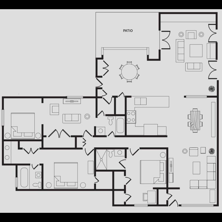 Floor plan image of Large Three Bedroom