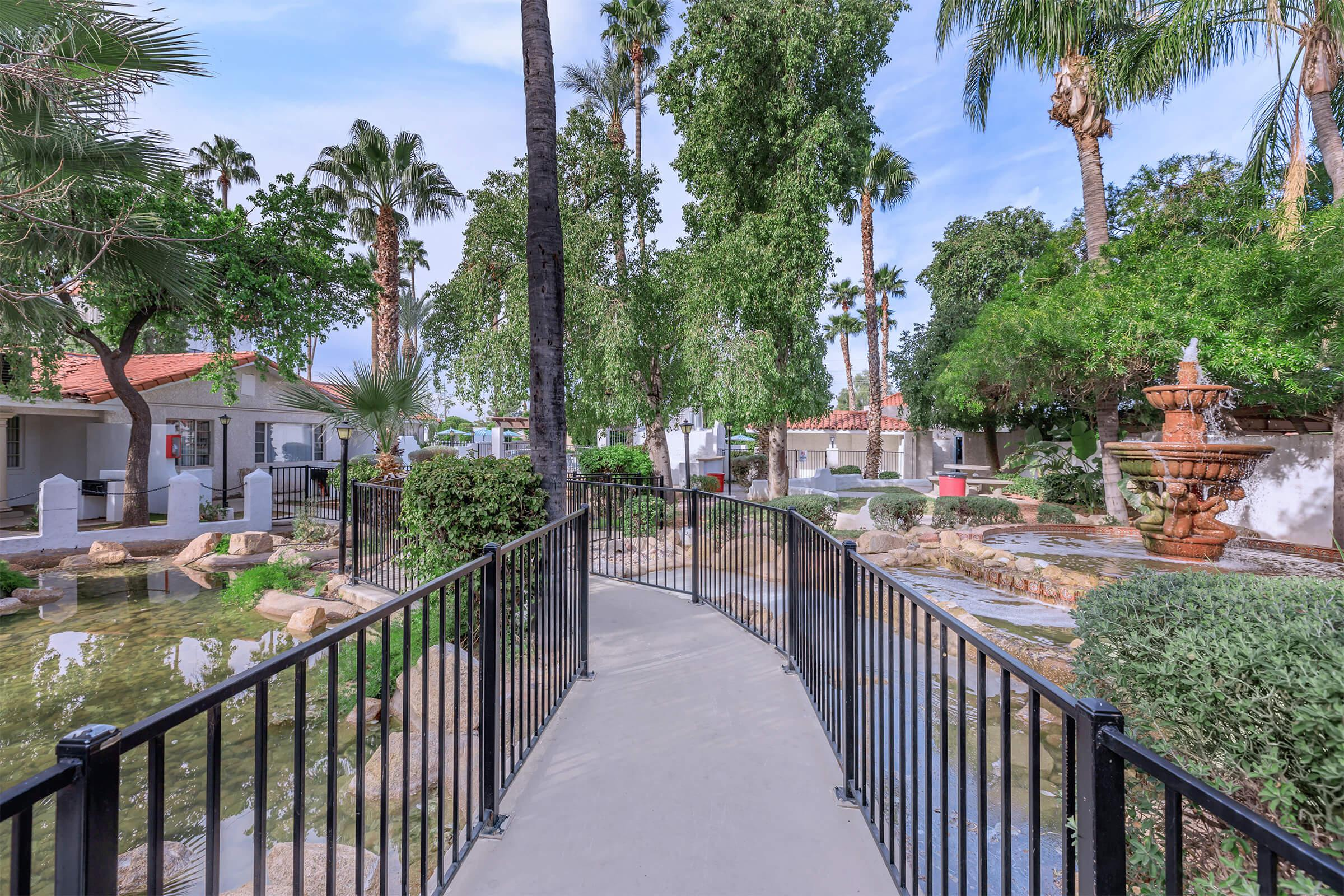 a row of palm trees and a fence