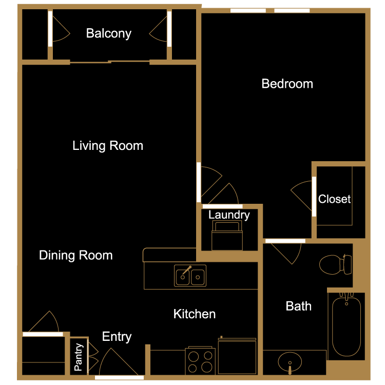 Floor plan image of One Bedroom - A11