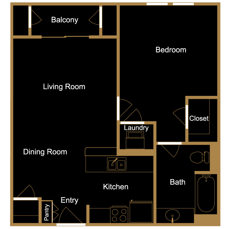Floor plan image of One Bedroom - A2