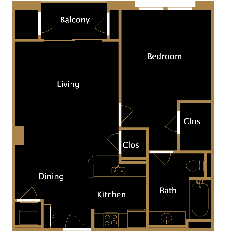 Floor plan image of One Bedroom - A3