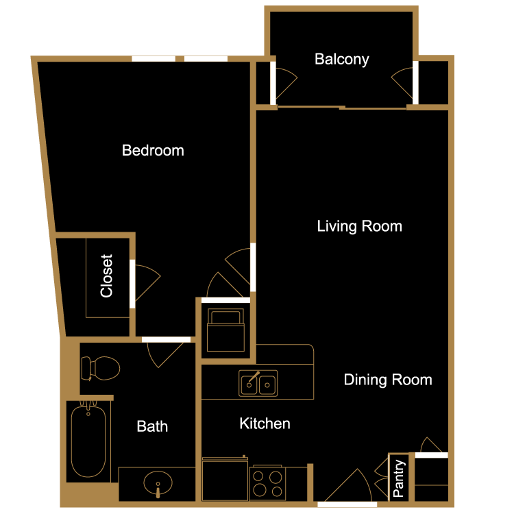 Floor plan image of One Bedroom - A4