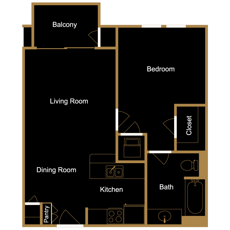 Floor plan image of One Bedroom - B1