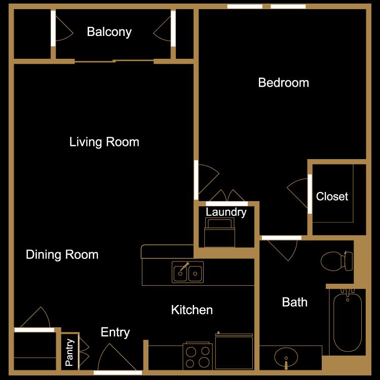 Floor plan image of One Bedroom - B14