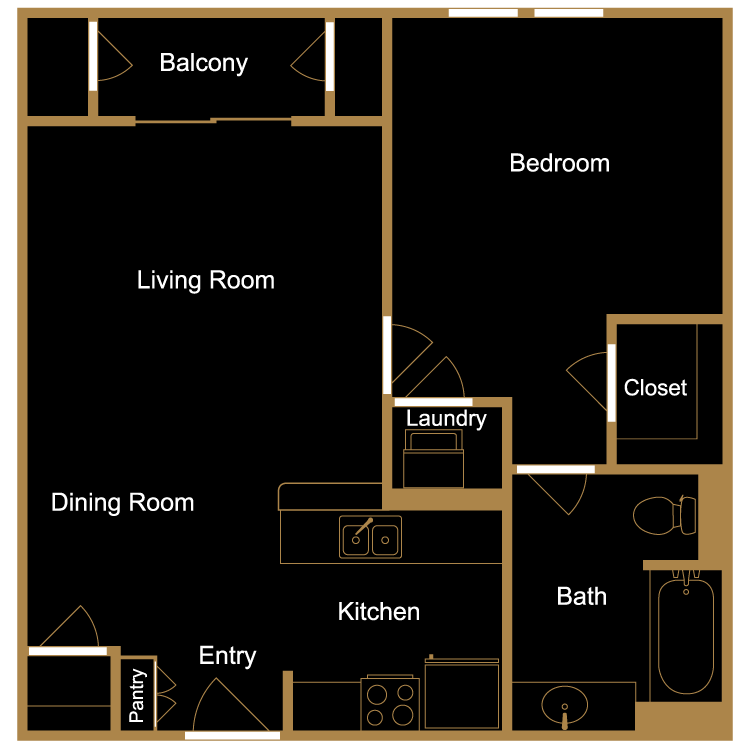 Floor plan image of One Bedroom - B2
