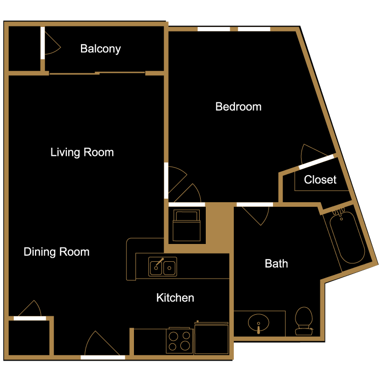 Floor plan image of One Bedroom - B5