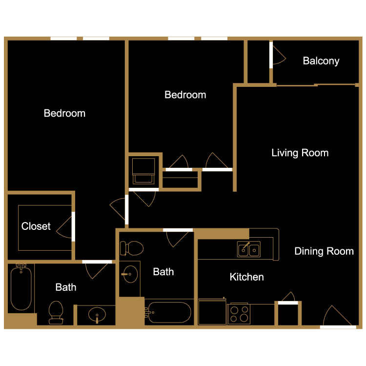 Floor plan image of Two Bedroom - D1