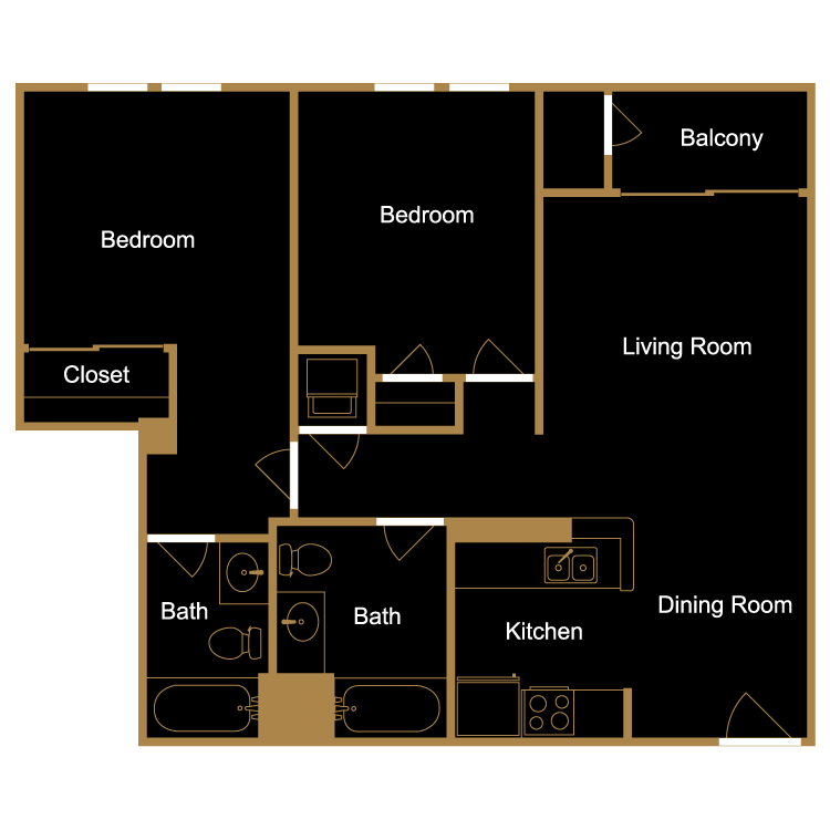 Floor plan image of Two Bedroom - D3