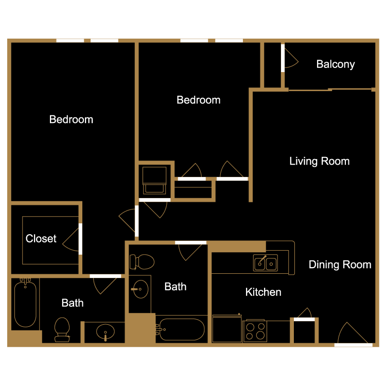 Floor plan image of Two Bedroom - D7