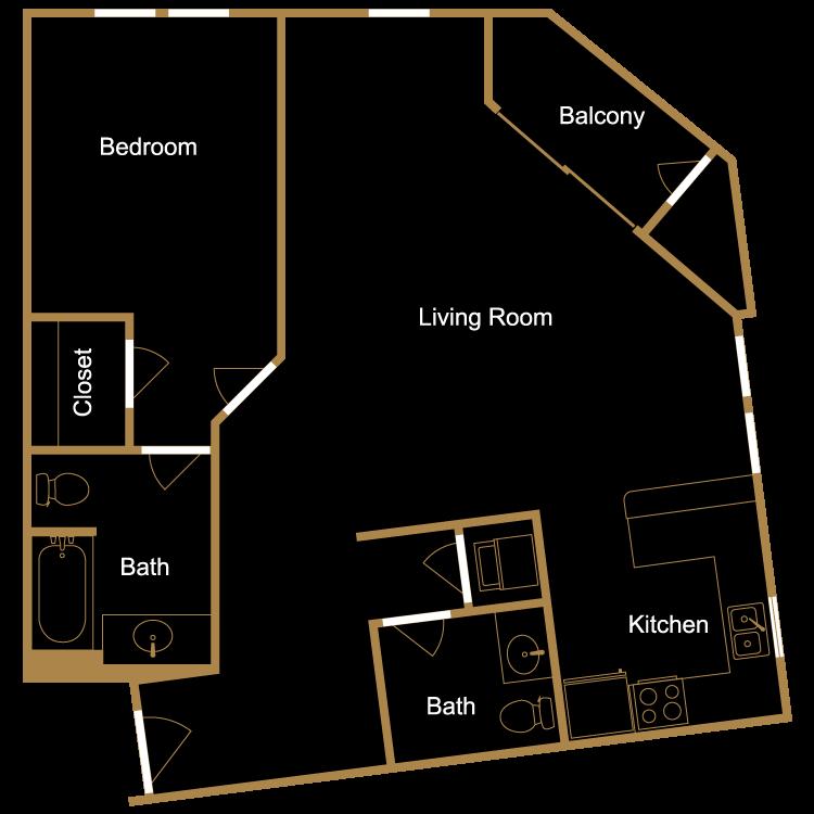 Floor plan image of One Bedroom - F1
