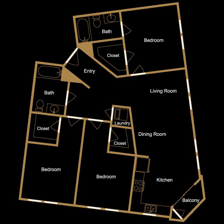 Floor plan image of Three Bedroom - G1