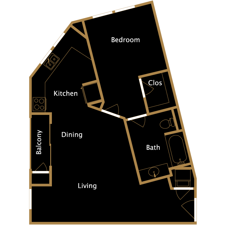 Floor plan image of One Bedroom - J1