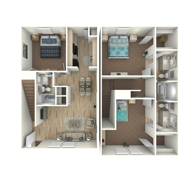Floor plan image of 3 Bed 2.25 Bath