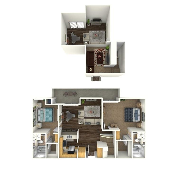 Floor plan image of 2 Bed 2 Bath Loft G1