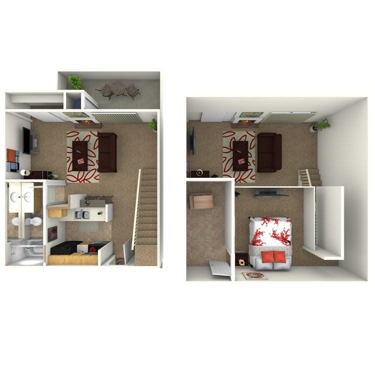 Floor plan image of Studio with Loft D1