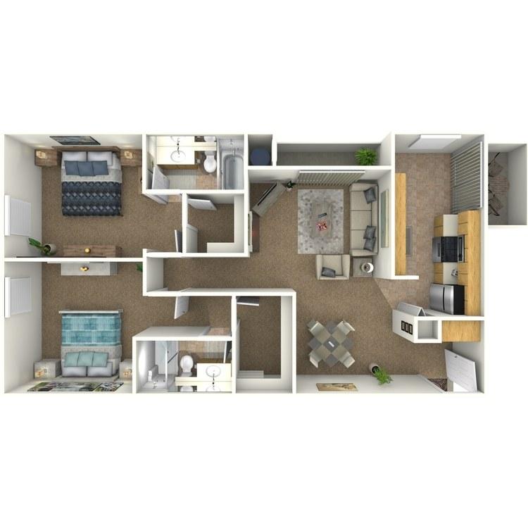 Floor plan image of 2 Bed 2 Bath A1