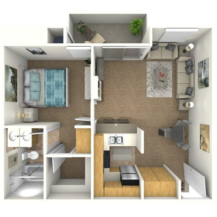 Floor plan image of 1 Bed 1 Bath C3