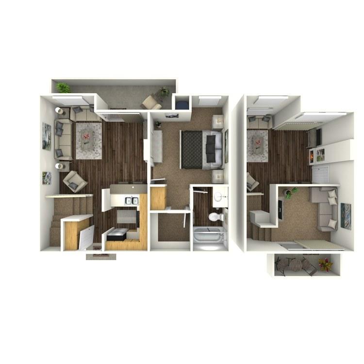 Floor plan image of 1 Bed 1 Bath Loft C1
