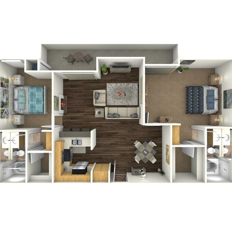 Floor plan image of 2 Bed 2 Bath G