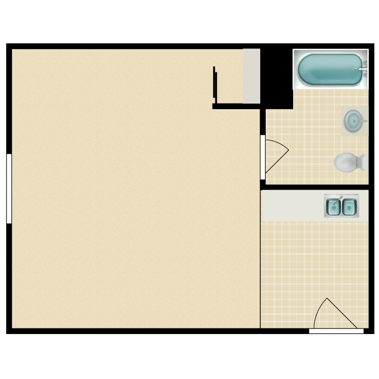 Floor plan image of Furnished Studio: Call for Qualifications