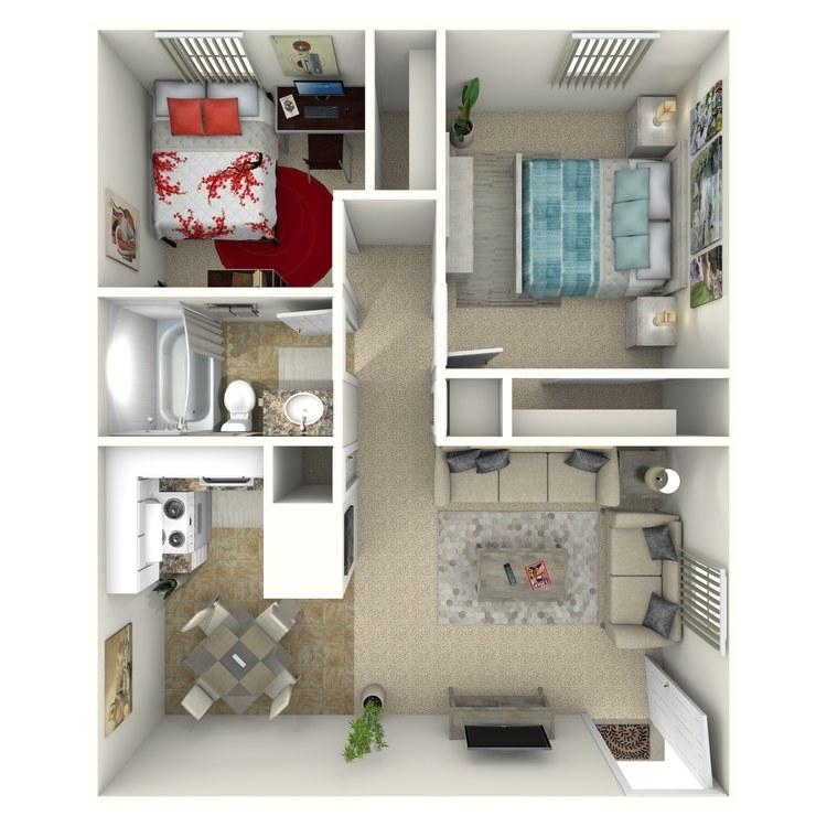 Floor plan image of 2 Bed 1 Bath Up